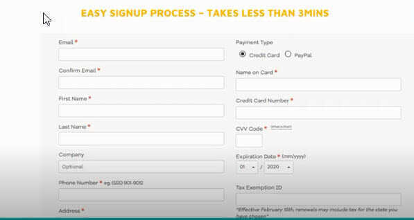 easy sign up process