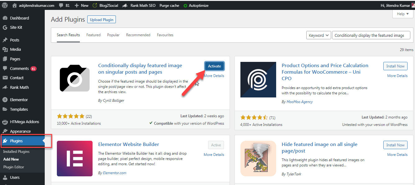 install and activate display featured image conditionally plugin