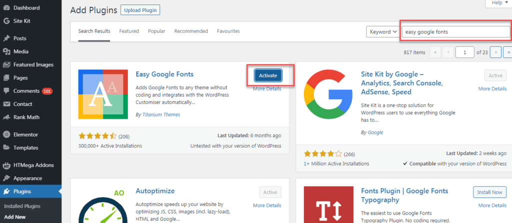 install and activate easy google fonts plugin
