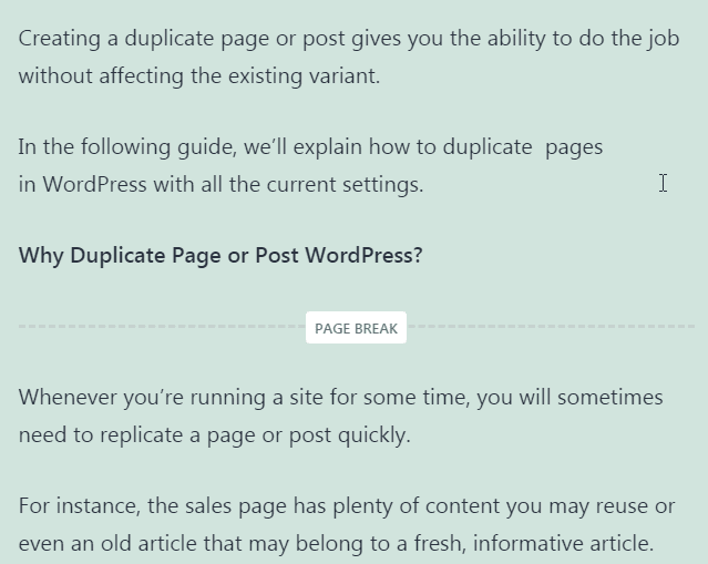 page break in content