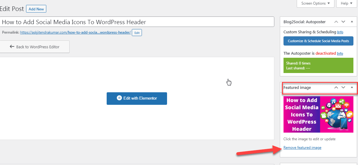 remove featured image from document