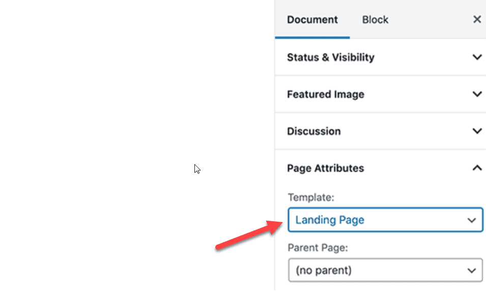choose page template