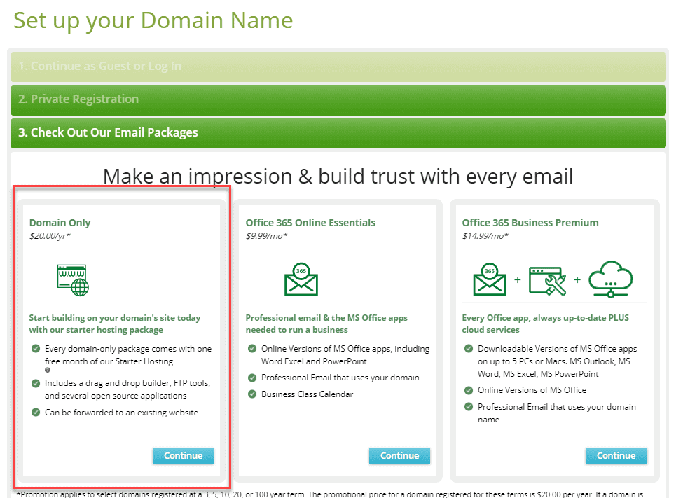 domain upsell offers