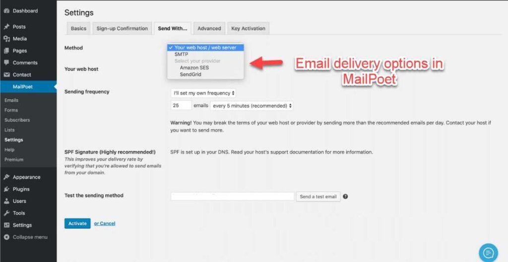 mailpoet email delivery options