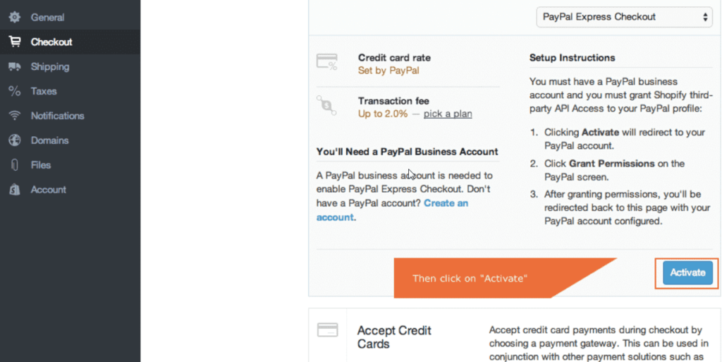 set up paypal on shopify